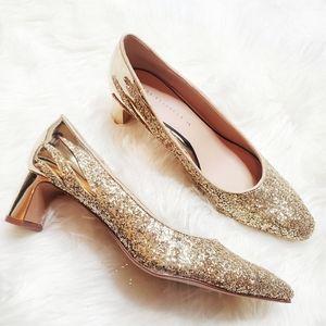 Zara   Glitter Gold Low Heels